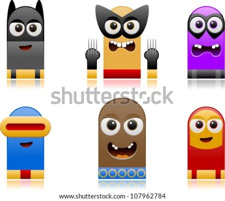 vector happy superhero monsters set 2 - stock vector