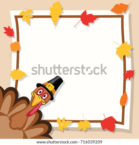vector happy thanksgiving day card turkey stock vector 716039209 rh shutterstock com thanksgiving border clip art free thanksgiving border clip art free