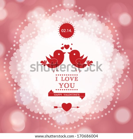 Vector Happy Valentine's Day card design. I Love You. - stock vector