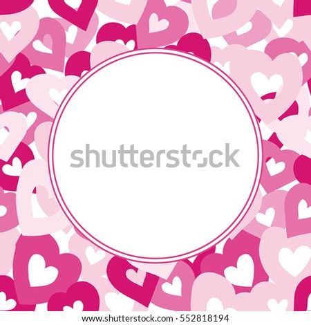 Vector Happy Valentine's Day card template with space for text. Hand drawn hearts.