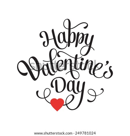 Vector Happy Valentines Day Vintage Card With Lettering - stock vector
