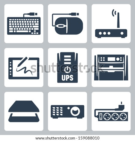 Vector hardware icons set: keyboard, computer mouse, modem, graphics tablet, UPS, multifunction device, scanner, projector, surge filter - stock vector