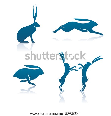 Vector Hare Icons. Includes a sitting hare, leaping hare, running hare, and a pair of boxing hares. - stock vector