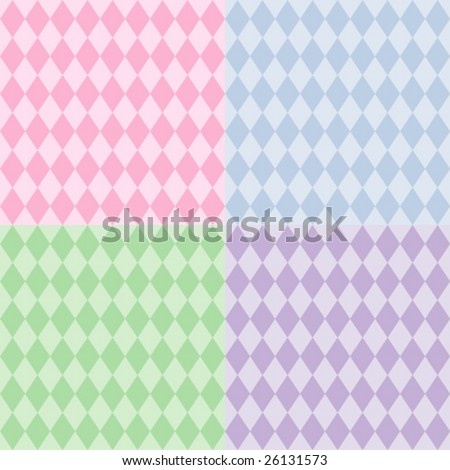 vector - Harlequin Pattern Seamless Tiles: diamond shapes in pastel tints. EPS8 includes 4 pattern swatches (tiles) that will seamlessly fill any shape. - stock vector
