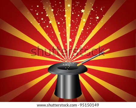 vector hat and magic wand on a striped background - stock vector