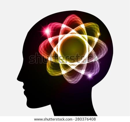 vector Head atom icon. yellow red yellow purple atom molecule science symbol brain scientific mind thinker. silhouette. infographics. - stock vector
