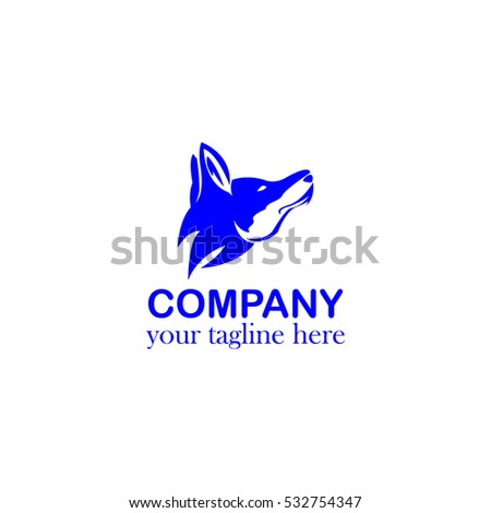 Vector Head Fox or Head Wolf  Icon Logo Design Template Element Blue