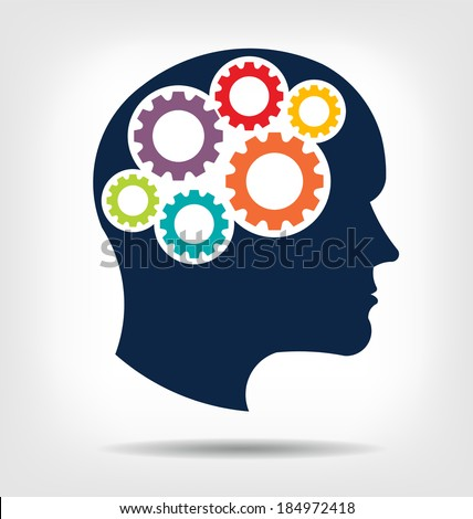 Vector Head gears. Abstraction of thinking mind. This icon serves as idea of teamwork mind, working think, memory training, brain system, psychology, knowledge. - stock vector