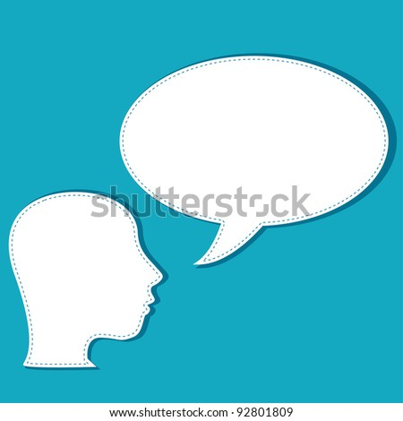 vector head silhouette speech bubble thoughts with copy-space - stock vector