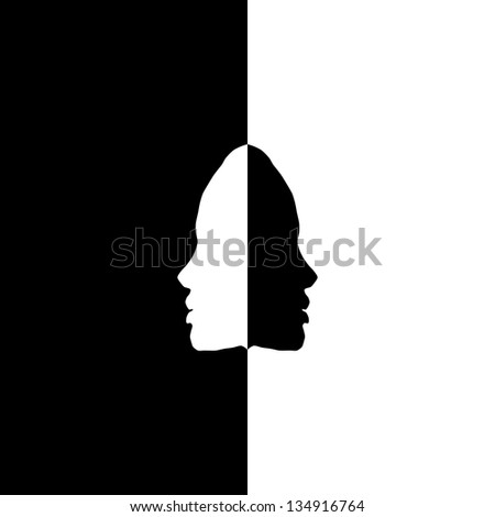 Vector head silhouettes in mirror, black and white