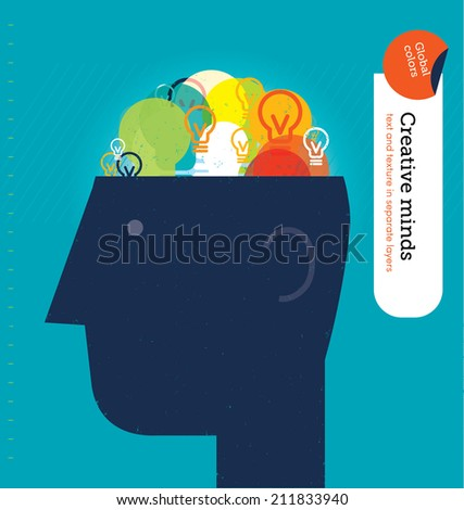 Vector head with bulbs brain. Vector illustration Eps10 file. Global colors. Text and Texture in separate layers. - stock vector