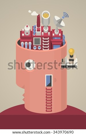 Vector head with factory for brain - stock vector
