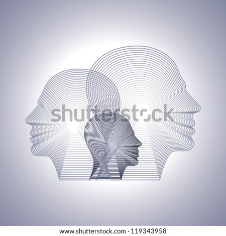 vector head with line pattern - stock vector