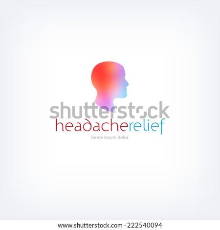 Vector headache relief product logo design template - stock vector