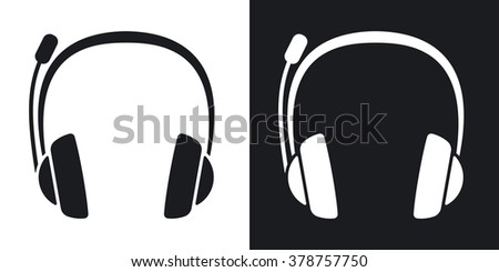 Vector headphones and microphone icon. Two-tone version on black and white background - stock vector