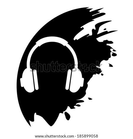 Vector headphones on black blob - stock vector