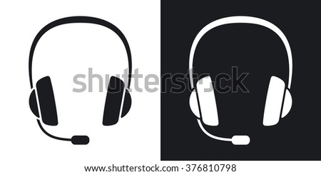 Vector headphones with microphone icon . Two-tone version on black and white background - stock vector