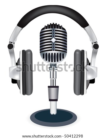 Vector headphones witn microphone on white background - stock vector
