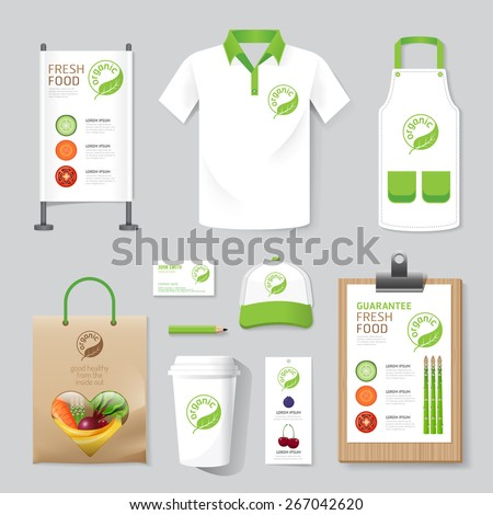 Vector health, beauty shop set flyer, menu, package, t-shirt, cap, uniform design/ layout set of corporate identity mock up template. - stock vector