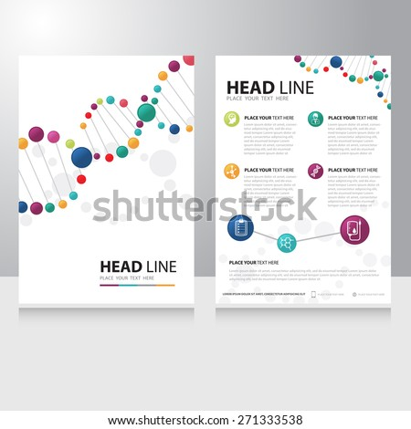 Vector healthcare medical and science technology Brochure Flyer design template with spiral helix dna background - stock vector