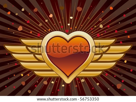 vector heart and wings,abstract background