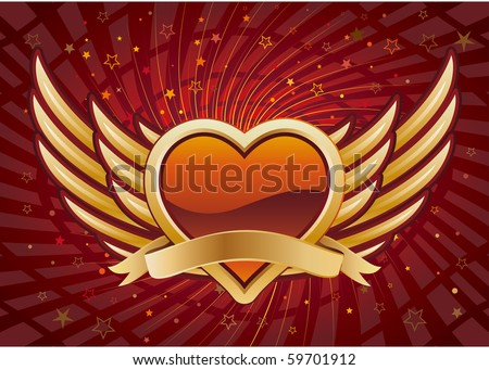 vector heart and wings,red abstract background