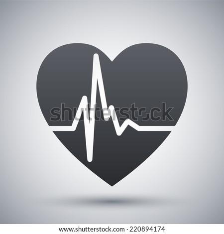 Vector heart cardiogram icon - stock vector