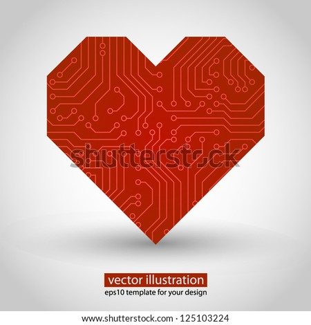 Vector heart. circuit board. Red variant - stock vector