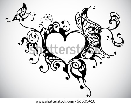 vector heart frame with butterfly - stock vector
