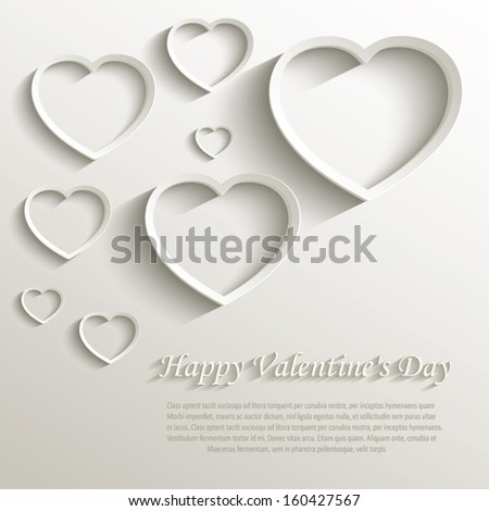 vector heart happy Valentine day love paper 3D natural