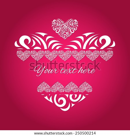 Vector Heart  - Illustration. Made of abstract ornament. Elements for cards, gifts, crafts, invitation. - stock vector