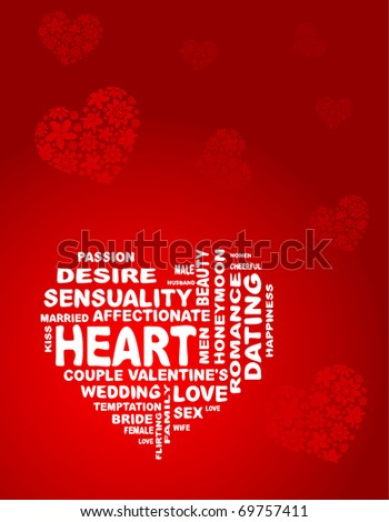 Vector heart is made of words, on the red background - stock vector