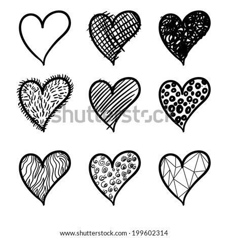 Vector heart. Logo heart. Icon heart. Broken heart. Wooden heart. Happy love. Unhappy love. Vector seamless pattern with hearts. Background with hearts. Modern heart - stock vector