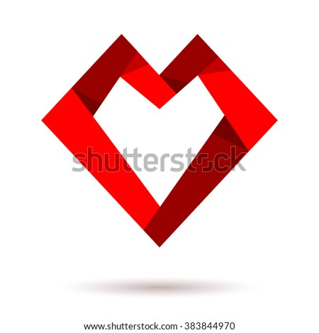 Vector heart logo icon. Paper heart. Heart shaped origami. Concept logo. Love health doctor relations. Logo red heart together. Charity logo, family children, baby mother, union, charity logo - stock vector