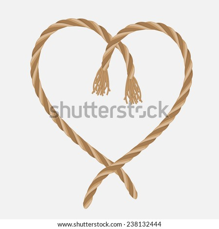 Vector heart of braided rope - stock vector