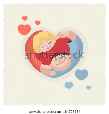 vector heart of people love  friendship and communication - stock vector