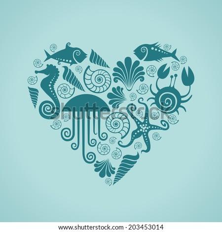 Vector heart of sea fauna icons. Original design element. Decorative illustration for print and web - stock vector