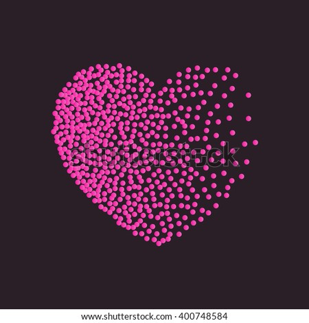 Vector heart pink dots. Black red dots and confetti. Symbol and logo heart pixel. Winter Valentines day snow heart with dots of various size. New Year, Christmas black and pink background