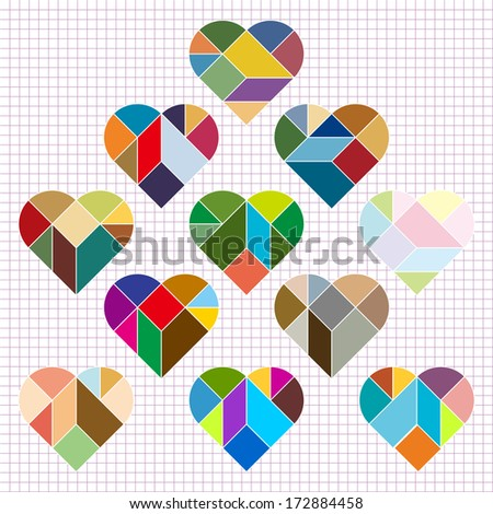 Vector Heart Puzzle  - stock vector