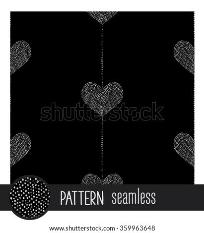Vector heart seamless pattern, background, texture, wallpaper. Valentine's Day. Love and romance. Black background - stock vector