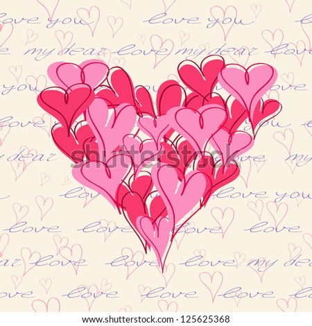 Vector Heart Shape Composed from Hand Drawn Hearts. Romantic Valentine Wedding Background.