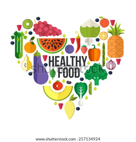 Vector heart shape filled with collection of fresh healthy fruits and vegetables. Healthy lifestyle or diet design element.