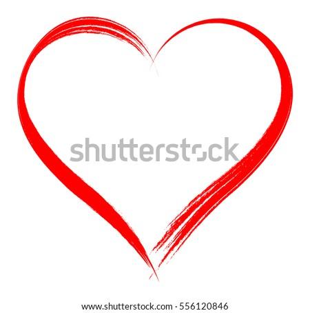 Vector heart shape frame brush painting 556120846 vector heart shape frame with brush painting isolated on white background voltagebd Images