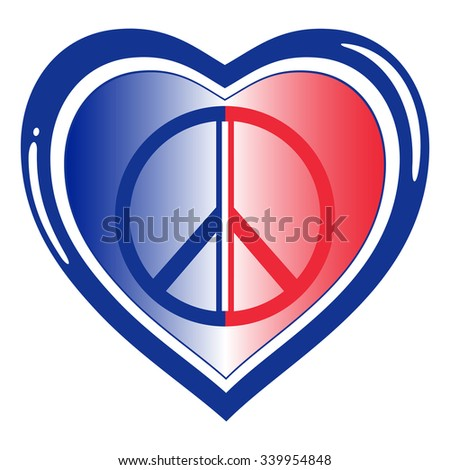 Vector Heart Shape  French Flag Colors Tricolor - Solidarity Concept