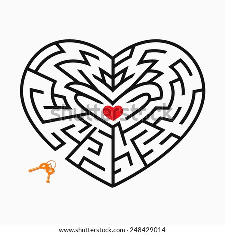Vector heart shape maze concept. Heart in maze - stock vector