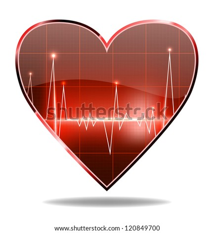 vector heart shaped cardiogram, isolated on white background, eps10 file, gradient mesh and transparency used, raster version available