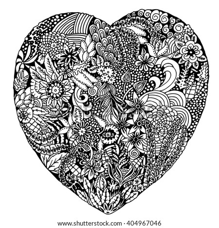 Vector Heart Shaped Pattern For Coloring Book Ethnic Retro Design In Zentangle Style With