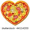 Vector Heart-Shaped Pizza - stock vector