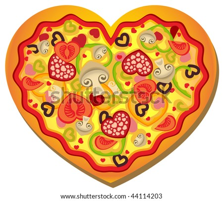 Vector Heart-Shaped Pizza - stock vector