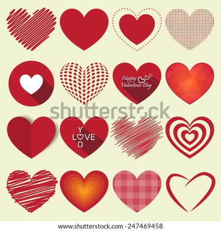 Vector Heart Shapes sing and symbol. used for valentine day or other works - stock vector